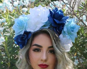 EXTRA LARGE Blue Rose Flower Crown Headband (Concert Mexican Music Festival Headpiece Wedding Bride Bridal Flower Girl Lana Bridesmaids Rey)
