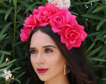 Hot Pink Flower Crown Headband (Mexican Wedding Bridal Headpiece Bride Party Music Festival Boho Bridesmaids Adult Wreath Magenta)