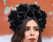 EXTRA LARGE Black Flower Crown Headband (Day of the Dead Headpiece Goth Gothic Costume Wreath Catrina Sugar Skull Crown Cosplay Punk Rock)