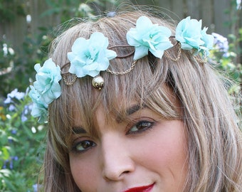 Baby Blue Thin Floral Flower Crown Headband (Mexican Wedding Bridal Headpiece Bride Tiger King Bridesmaids Carole Baskin Costume Halloween)