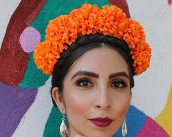 Marigold Orange Flower Crown Headband (Costume Day of the Dead Headpiece Wreath Frida Kahlo Costume Mexican Cinco De Mayo Indian Wedding)