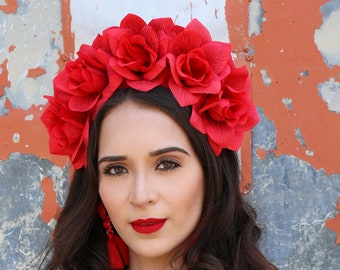 Red Rose Flower Crown Headband (Mexican Wedding Bridal Headpiece Bride Music Festival Boho Wedding Gypsy Bridesmaids Wreath Adult Girl)