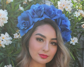 Royal Blue Flower Crown Headband (Bridal Headpiece Bridesmaids Boho Wedding Mexican Floral Crown Flower Girl Wreath Day of the Dead Party)