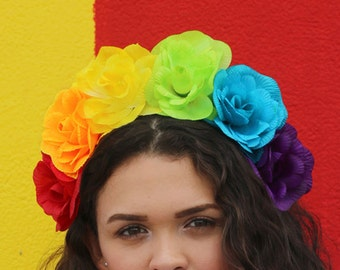 Gay pride head piece Rainbow flower crown LGBT pride accessory Rainbow wedding head piece