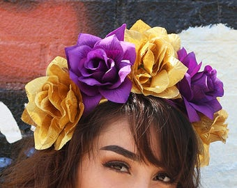 ce33e83bf49 Purple Gold Flower Crown Headband (Headpiece New Orleans Queen Mardi Gras  Wedding NOLA Festival Headdress Crown Mardi Gras Party Louisiana)