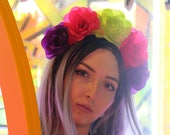 Pink Green Purple Flower Crown Headband (Mexican Wedding Bridal Headpiece Bride Music Festival Boho Gypsy Bridesmaids Adult Wreath Party)
