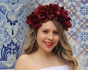 Dark Red Rose Flower Crown Headband (Mexican Wedding Bridal Headpiece Bride Music Festival Boho Bridesmaids Bohemian Gypsy Frida Kahlo)