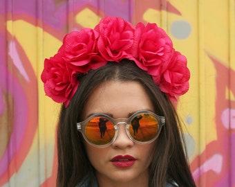 Hot PinkFlower Crown Headband (Mexican Wedding Bridal Headpiece Bride Party Music Festival Boho Bridesmaids Adult Wreath Magenta)