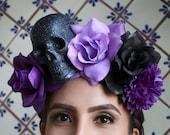 Purple Black Flower Crown Headband (Mexican Day of the Dead Costume Headpiece Sugar Skull Costume Goth Gothic Catrina Headdress Wreath Skull