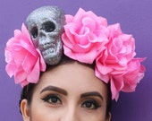 Pink Flower Crown Headband (Costume Day of the Dead Headpiece Wreath Dia De los Muertos Sugar Skull Skeleton Costume Goth Gothic Mexican)