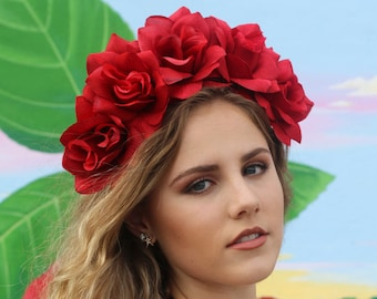 Red Rose Flower Crown Headband (Mexican Winter Wedding Bridal Headpiece Bride Music Festival Boho Gypsy Bridesmaids Adult Baby Girl)