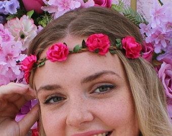 Hot Pink Roses Floral Flower Crown Headband (Boho Wedding Bridal Flower Crown Music Festival Baby Adult Bride Bridesmaids Bachelorette Party