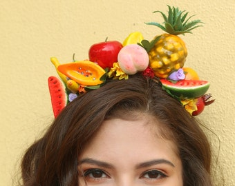 Fruits Flower Crown Headband (Fruit Mexico Summer Pineapple Watermelon Costume Fruit Headpiece Hat Costume Woodland Wreath Fruits Summer)