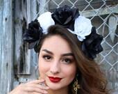 Black White Flower Crown Headband (Costume Day of the Dead Headpiece Dia De los Muertos Wreath Sugar Skull Headdress Skeleton Goth Gothic)