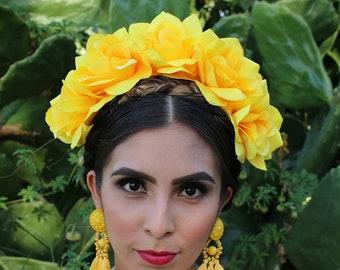 Yellow headpiece etsy yellow flower crown headband mexican wedding bridal headpiece bride music festival boho wedding gypsy bridesmaids wreath adult girl mightylinksfo