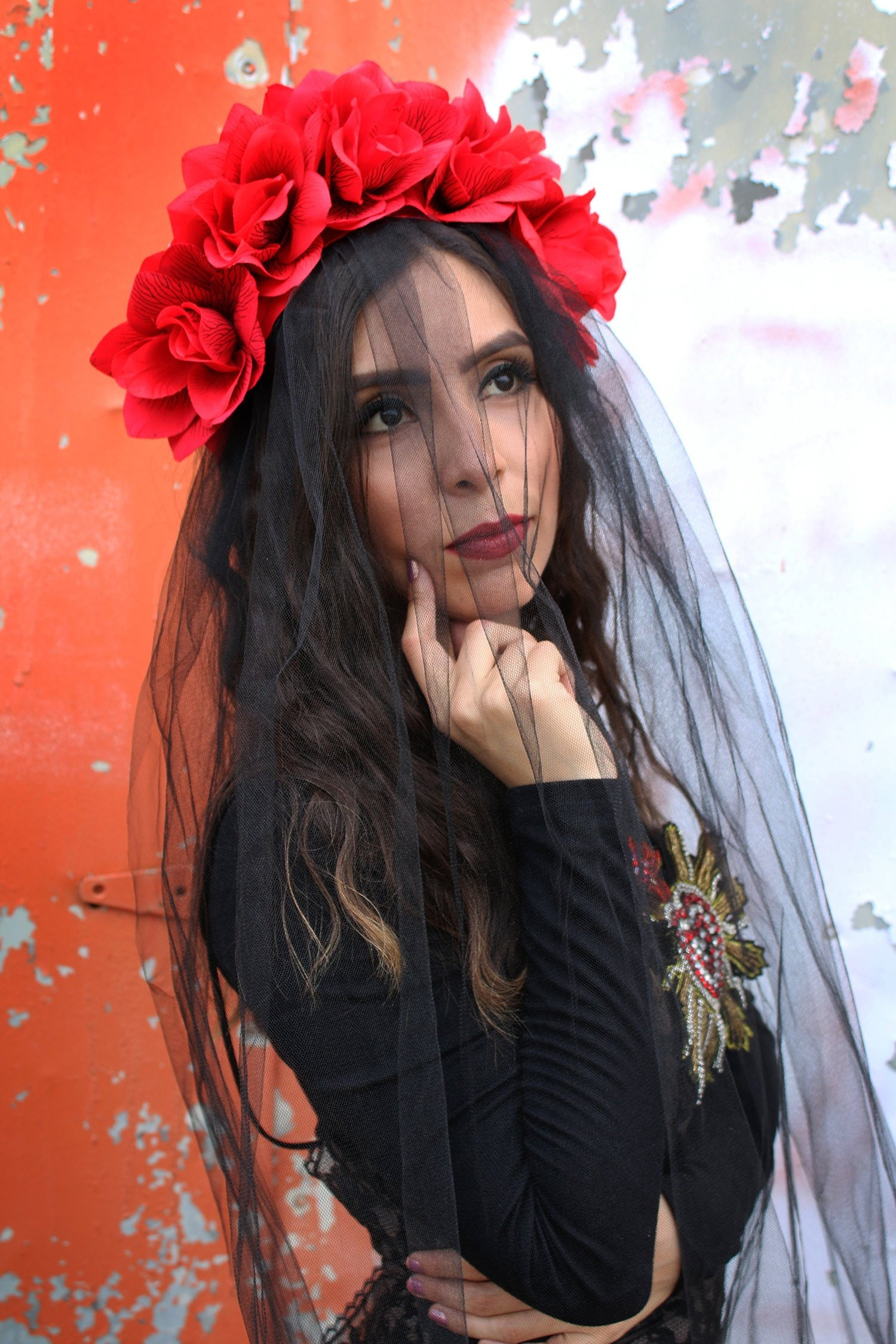 Black Rose WITH BLACK VEIL Flower Crown Headband Mexican Headpiece Festival Gothic Wedding Goth Costume Wreath Day of the Dead
