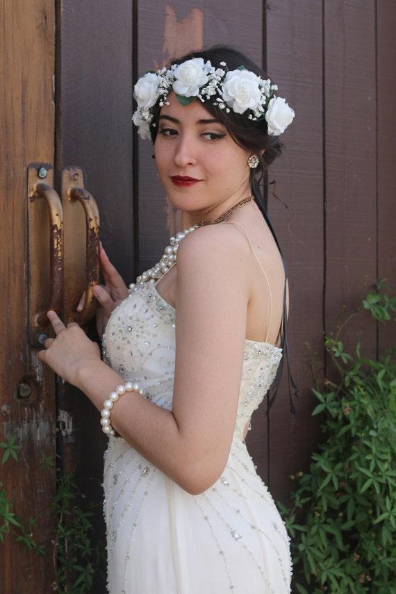 Ivory Flower Crown Headband Bride Bridesmaids Boho Wedding Bridal