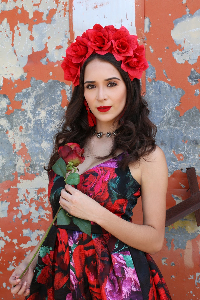Red Rose Flower Crown Headband Mexican Wedding Bridal image 0