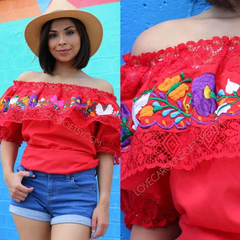 4d4467860253e Blouse brodée mexicaine traditionnel Oaxaca Off grand