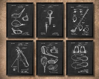 SET Of 6 GOLF Vintage Art, Print Or Canvas, Patent Wall Art Decor,