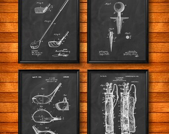 SET Of FOUR 4 GOLF Art Posters, Vintage Patent Illustration, Art Print,  Canvas