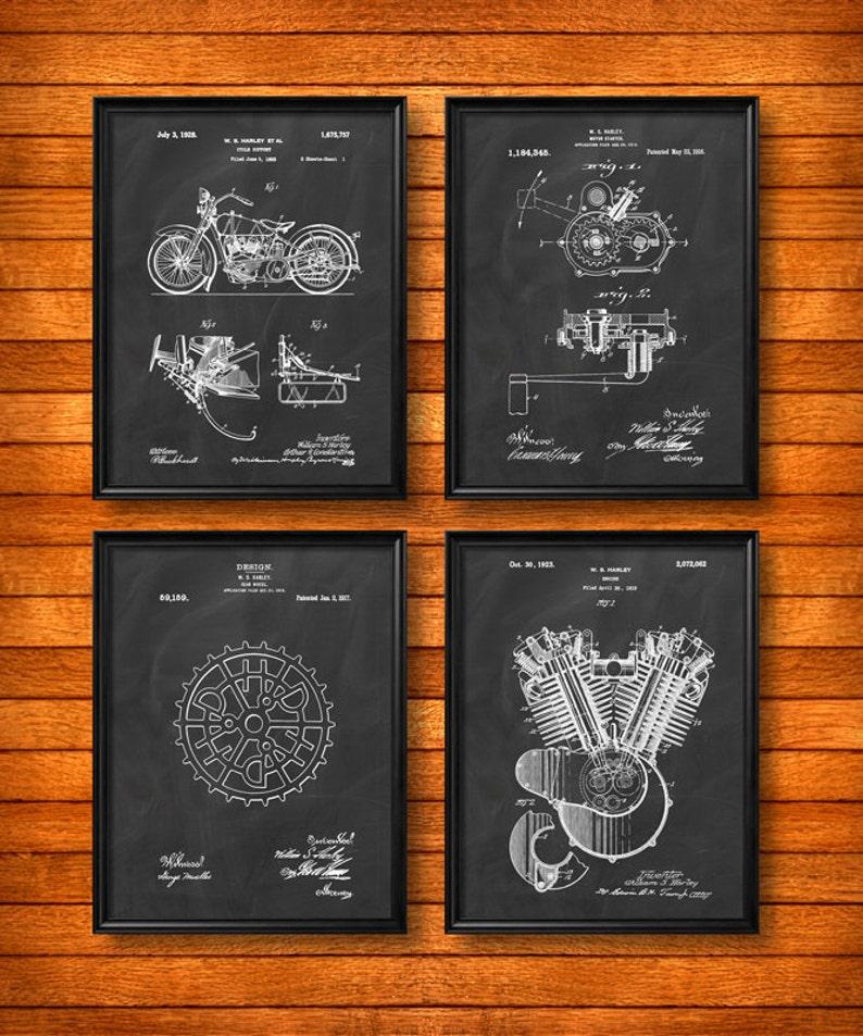 Prime Set Of 4 Harley Davidson Motorcycle Vintage Art Patent Etsy Wiring Digital Resources Anistprontobusorg