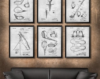 Marvelous SET Of 6 GOLF Vintage Patent Illustration, Art Print Or Canvas, Wall Art  Decor