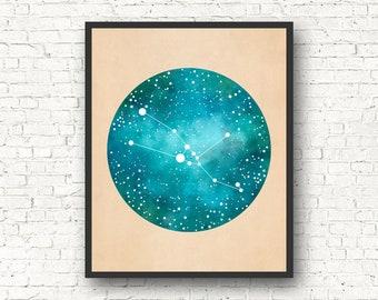 Taurus Art, Taurus Constellation, Taurus Star Sign, Taurus Gift, Constellation Print, Constellation Map, Zodiac gift, astrology gift