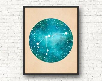 Aquarius Art, Aquarius Constellation, Aquarius Star Sign, Aquarius Gift, Constellation Print, Constellation Map, Aquarius Wall Art