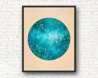 Sagittarius Art, Sagittarius Constellation, Sagittarius Star Sign, Sagittarius Gift, Constellation Print, Constellation Map,