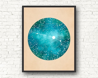 Aries Art, Aries Constellation, Aries Star Sign, Aries Gift, Constellation Print, Constellation Map, Zodiac gift, astrology gift