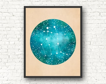 Gemini Art, Gemini Constellation, Gemini Star Sign, Gemini Gift, Constellation Print, Constellation Map, Zodiac gift, astrology gift