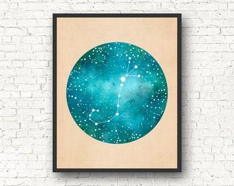 Scorpio Art, Scorpio Constellation, Scorpio Star Sign, Scorpio Gift, Constellation Print, Constellation Map, Zodiac gift
