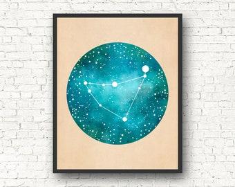 Capricorn Art, Capricorn Constellation, Capricorn Star Sign, Capricorn Gift, Constellation Print, Constellation Map, Capricorn Wall Art