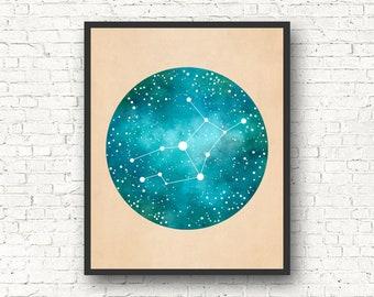Virgo Art, Virgo Constellation, Virgo Star Sign, Virgo Gift, Constellation Print, Constellation Map, Zodiac gift, astrology gift