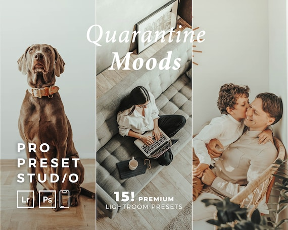 Pro Preset Studio (15!) Quarantine Moods presets mobile  for Lightroom desktop and Lightroom mobile and Photoshop