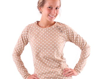 "Sweater ""Emma"" with buttons//beige with cream dots"