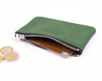 Small purse finni//dark green genuine leather