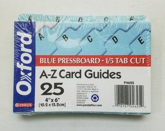 Vintage Alphabet Index Card Dividers 4x6, Blue