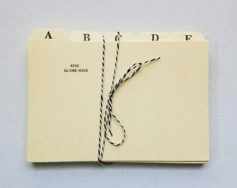 Vintage Alphabet Index Card Dividers 4x6