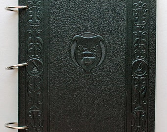 Green Encyclopedia Office Supply & Ledger Themed Altered Book Journal