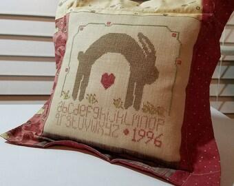 Spring Sampler  Pillow, Vintage Handmade