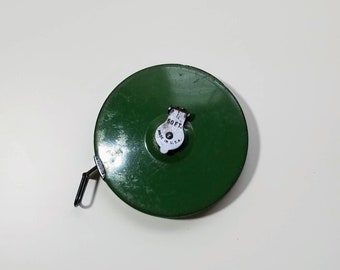 Vintage Retractable Cloth Measuring Tape, Green Metal Case, 50 ft Measuring Tape, Seamstress Tape