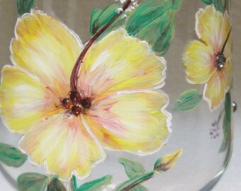 Yellow Hibiscus Trio Wine Glass