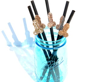 12 PACK - ROSE GOLD penis straws! Bachelorette party, bachelorette party decorations, penis decorations, bachelorette party favors