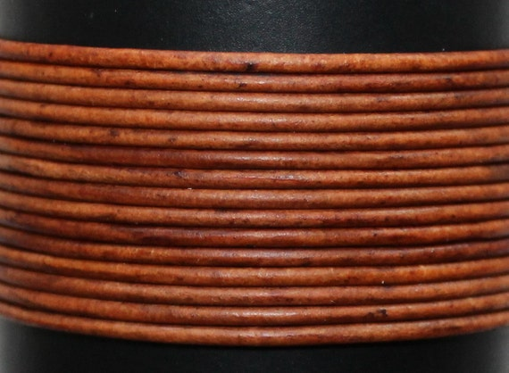 2mm Natural Vintage Brown Round Leather Cord 10 Yards Genuine Leather Cord 163