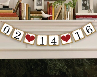 Save The Date Banner - Wedding Date Banners - Date Sign - Wedding Banner Photo Prop - Date Garland