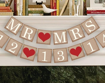 MR and MRS Banners - Save The Date Banner - Wedding Date Banners - Date Sign - Wedding Banner Photo Prop - Date Garland