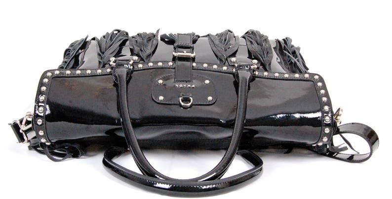302f739329d7d2 Fab VTG Auth PRADA XL black patent leather fringe Satchel   Etsy