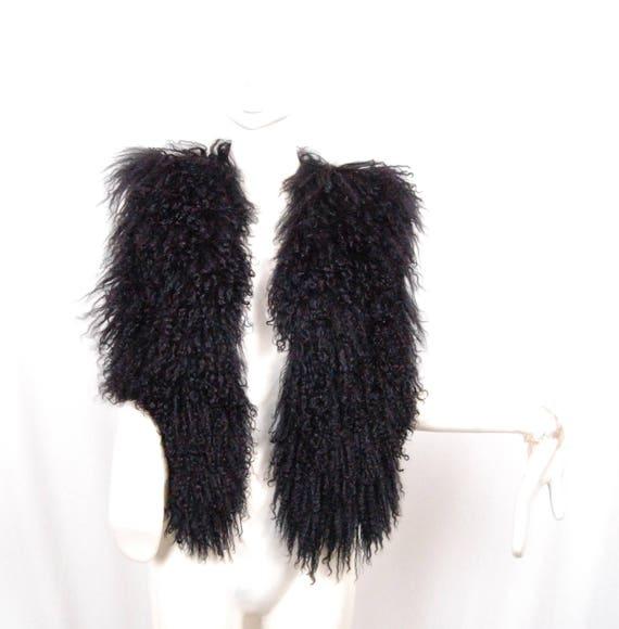 Vtg Women's MONGOLIAN Curly Lamb Fur Coat in black